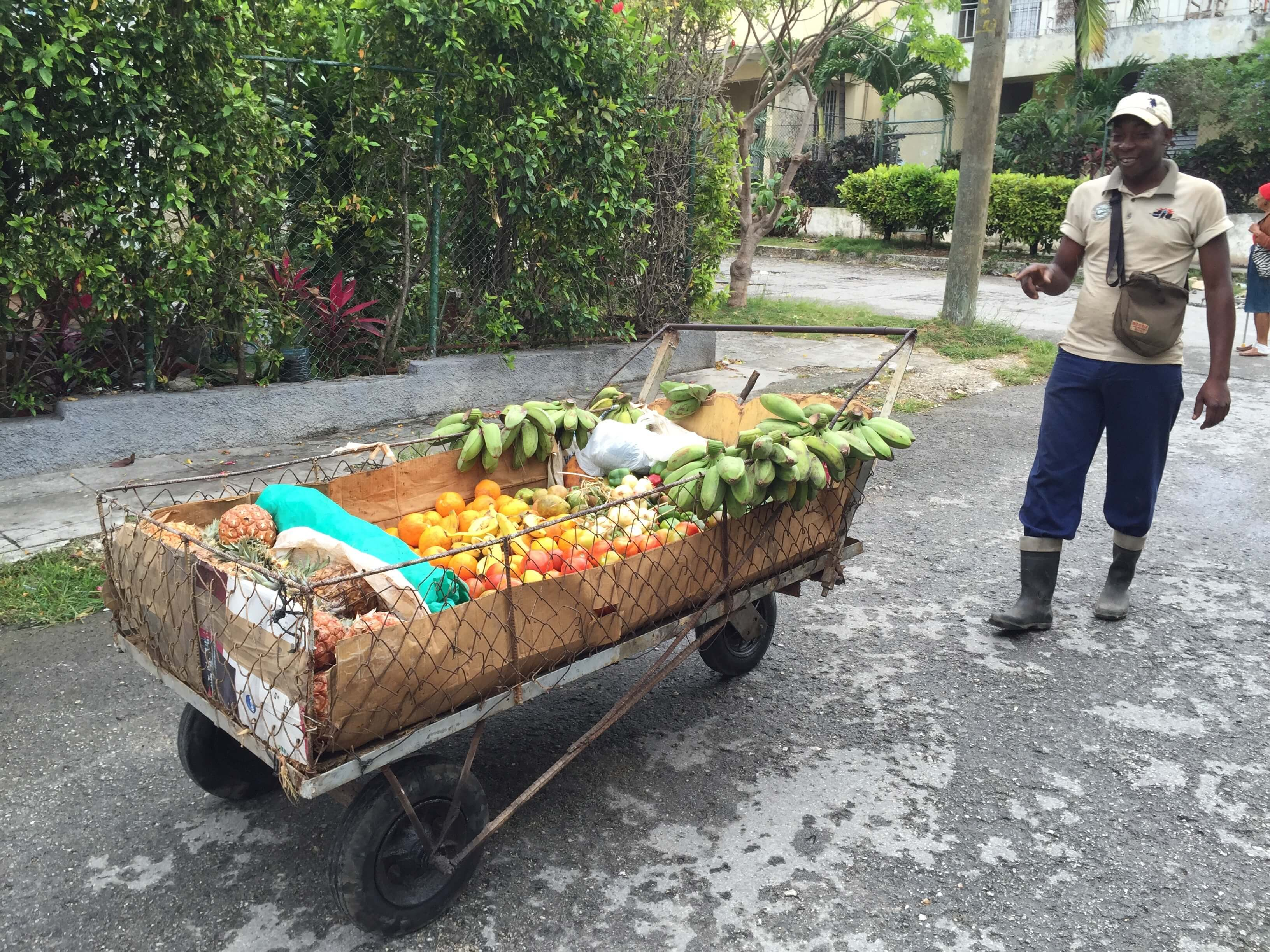 Fruechtewagen in Havanna auf der Strasse